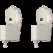 Pair of Antique Art Deco White Porcelain Sconces