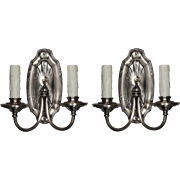Antique Silver Plated Sconce Pair, Early 1900s