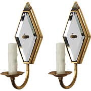 Art Deco Mirrored Brass Sconces, Antique Lighting