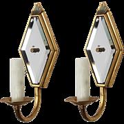 Art Deco Mirrored Brass Sconces, Antique Lighting