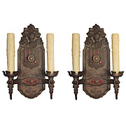 Figural Sconces with Knights by Markel, Antique Lighting