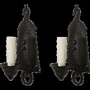 Tudor Sconce Pair in Cast Iron, Antique Lighting