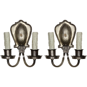 Tudor Sconce Pair in Darkened Nickel, Antique Lighting