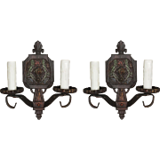 Art Deco Sconces with Flowers, Antique Lighting