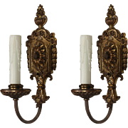Neoclassical Single-Arm Sconces in Cast Brass, Antique Lighting