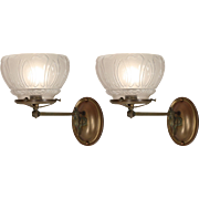 Antique Gas Sconce Pair with Original Shades, Late 19th Century