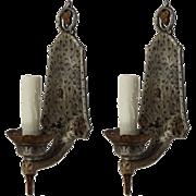 Tudor Sconce Pair in Iron, Antique Lighting