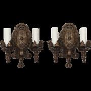 Spanish Revival Sconce Pair, Antique Lighting