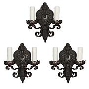 Tudor Sconce Set in Cast Iron, Antique Lighting