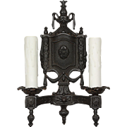 Neoclassical Sconce Pair in Cast Iron, Antique Lighting