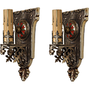 Tudor Sconce Pair with Fleur-De-Lis, Antique Lighting