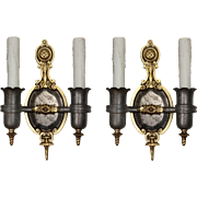 Antique Spanish Revival Sconce Pair, Darkened Nickel & Brass