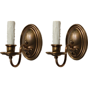 Pair of Antique Brass Colonial Revival Sconces, c.1920