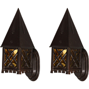 Pair of Antique Tudor Wall-Mount Lanterns