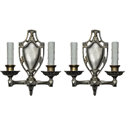 Neoclassical Sconce Pair in Darkened Nickel & Brass, Antique Lighting