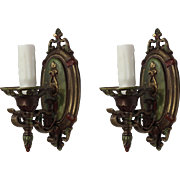 Neoclassical Bronze Sconce Pair by Lightolier, Antique Lighting