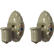 Antique Porcelain Sconce Pair, Painted Flowers