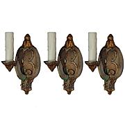 Antique Neoclassical Sconces, Original Polychrome