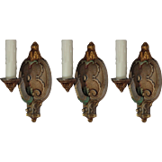Antique Neoclassical Sconces, Original Polychrome