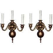 Antique Pair of Brass Colonial Revival Sconces