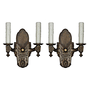 Antique Pair of Neoclassical Double-Arm Sconces, Signed Riddle Co.