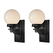 Antique Exterior Sconces with Glass Globes, Cast Iron