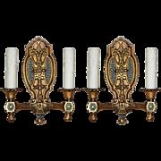 Antique Neoclassical Double Arm Sconces with Original Polychrome