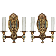 Antique Neoclassical Double Arm Sconces with Original Polychrome