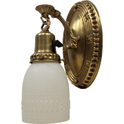Neoclassical Brass Sconces with Glass Shades, Antique Lighting
