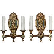 Neoclassical Double Arm Sconces with Original Polychrome, Antique Lighting