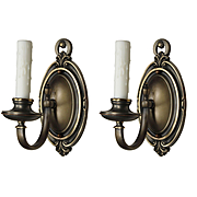Colonial Revival Sconce Pair in Brass, Antique Lighting