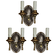 Antique Colonial Revival Two-Tone Sconces, Early 1900s