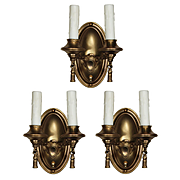Colonial Revival Sconces in Brass, Antique Lighting