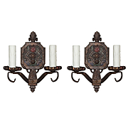 Art Deco Double Arm Sconces with Flowers, Antique Lighting