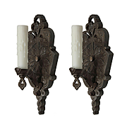 Antique Art Deco Sconce Pair in Cast Iron