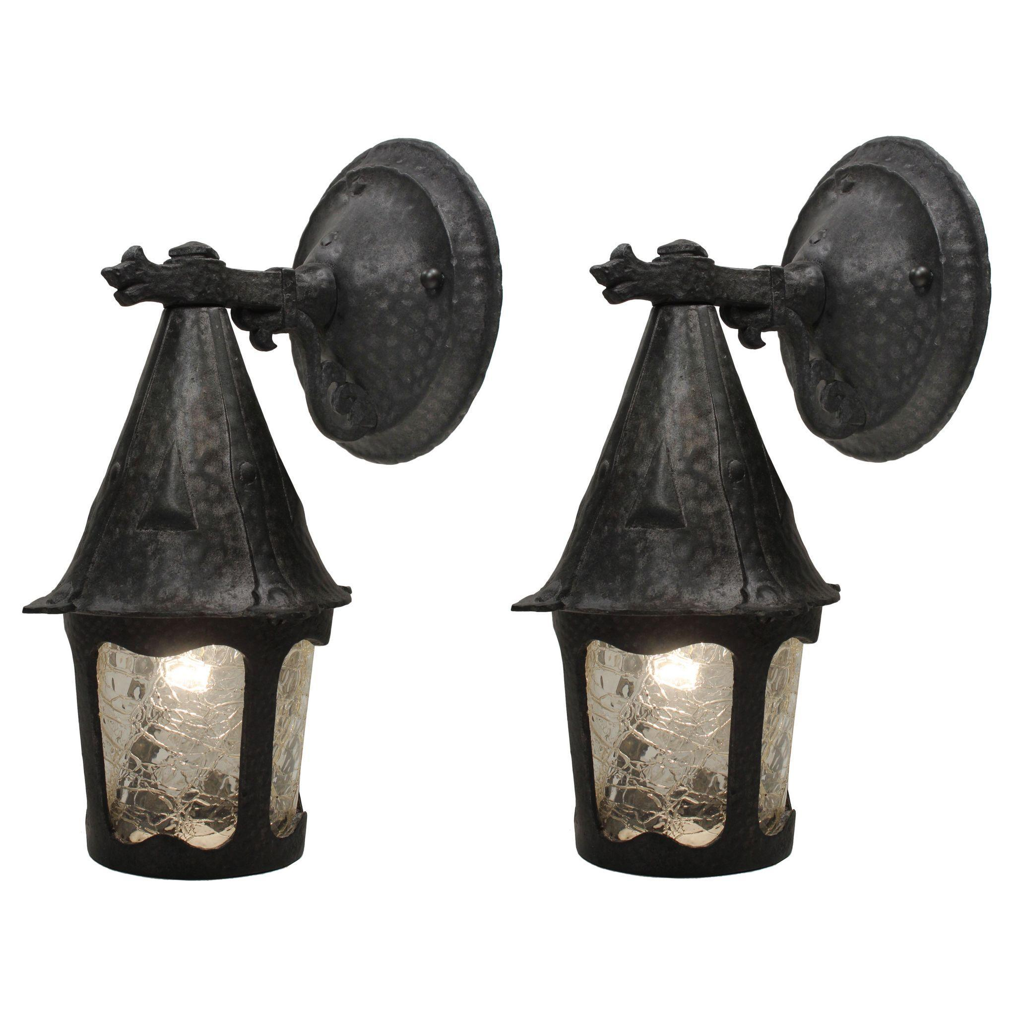 Tudor Lantern Sconce Pair with Figural Details, Antique Lighting
