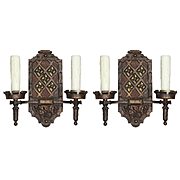 Spanish Revival Double Arm Sconces, Antique Lighting