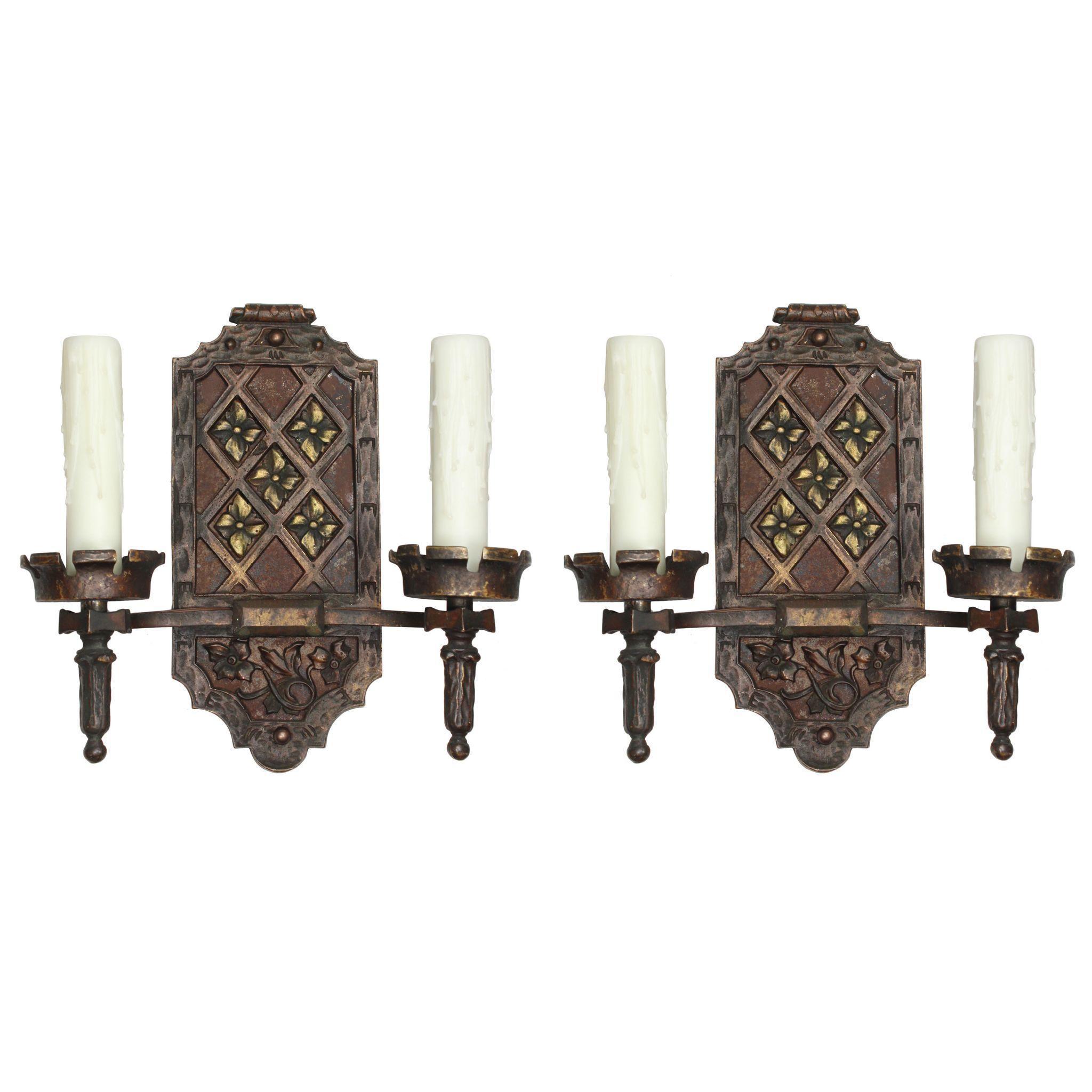 Spanish Revival Double Arm Sconces, Antique Lighting