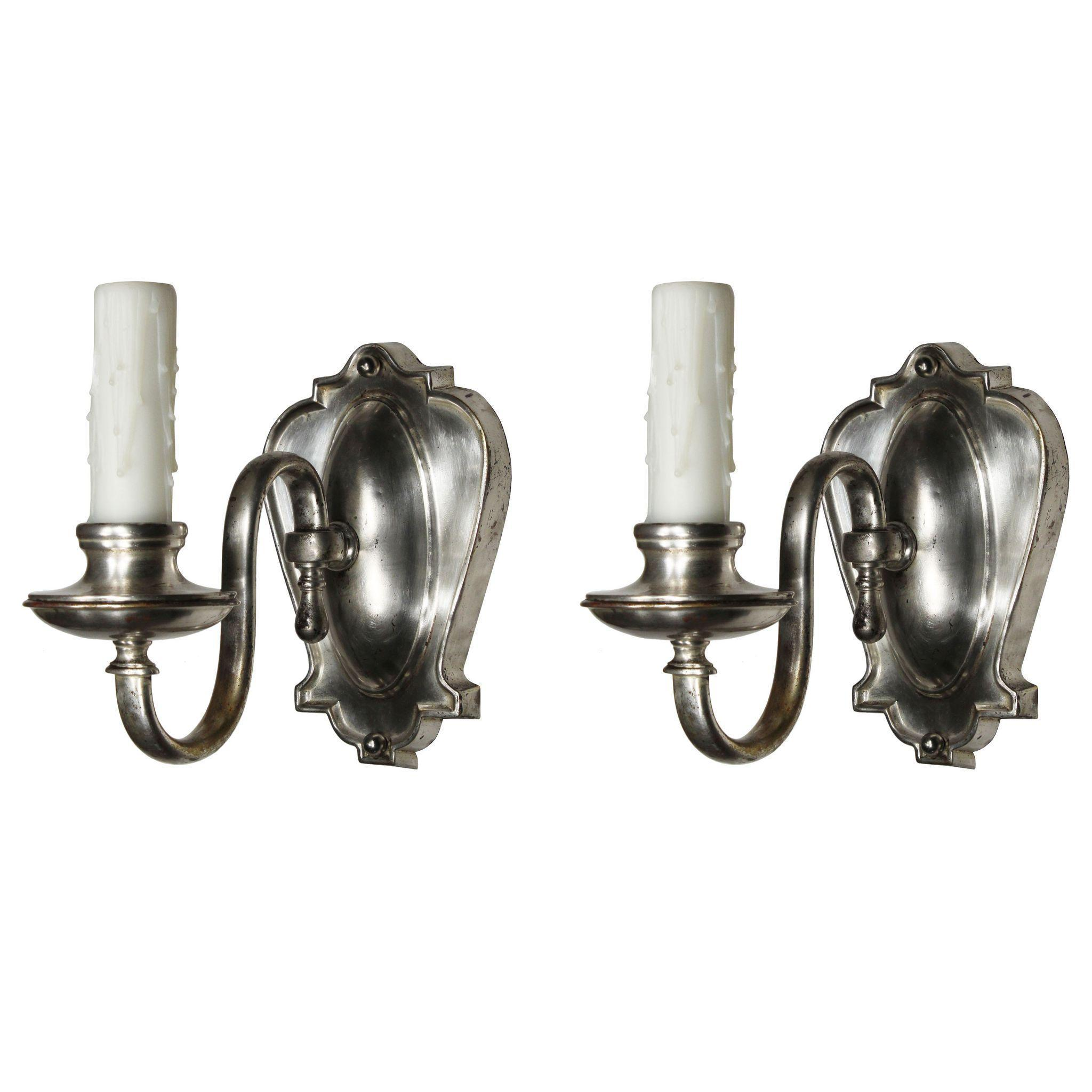 Antique Silver Plated Sconces, E.F. Caldwell
