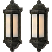 Antique Pair of Exterior Cast Iron Sconces, Early 1900s