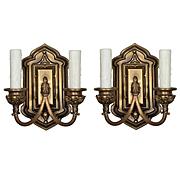Gothic Revival Double Arm Sconce Pair, Antique Lighting