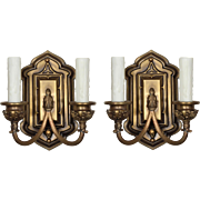 Gothic Revival Double Arm Sconce Pair, Antique Lighting