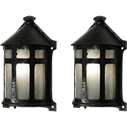 Arts and Crafts Sconces with Original Glass, Antique Lighting