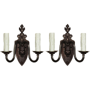 Antique Adam Style Sconces in Darkened Bronze