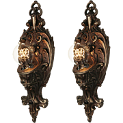 Neoclassical Exposed Bulb Sconces by Lincoln, Antique Lighting