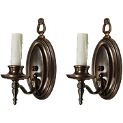Colonial Revival Single-Arm Sconce Pair, Antique Lighting