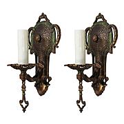 Spanish Revival Bronze Sconce Pair by Halcolite, Antique Lighting