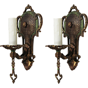 Spanish Revival Bronze Sconce Pair by Halcolite, Antique Lighting