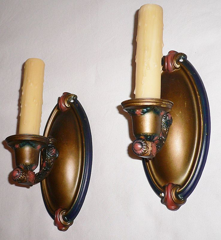 Fantastic Pair of Single Arm Brass Sconces