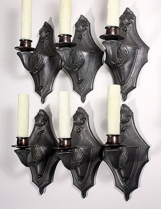 Five Matching Antique Single-Arm Cast Pewter Sconces, Early 1900s - ONE AVAILABLE